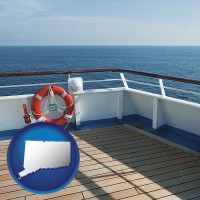 connecticut map icon and a cruise ship deck