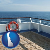 delaware map icon and a cruise ship deck