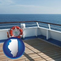 illinois map icon and a cruise ship deck