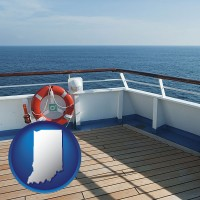 indiana map icon and a cruise ship deck