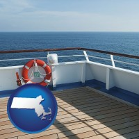 massachusetts map icon and a cruise ship deck