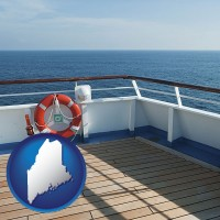 maine map icon and a cruise ship deck