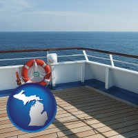 michigan map icon and a cruise ship deck