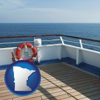 minnesota map icon and a cruise ship deck