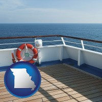 missouri map icon and a cruise ship deck