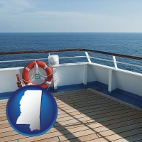 mississippi map icon and a cruise ship deck