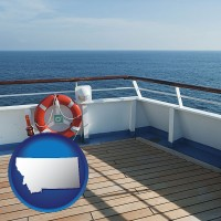 montana map icon and a cruise ship deck