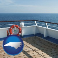 north-carolina map icon and a cruise ship deck