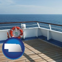 nebraska map icon and a cruise ship deck