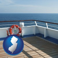new-jersey map icon and a cruise ship deck