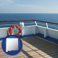 new-mexico map icon and a cruise ship deck