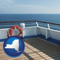 new-york map icon and a cruise ship deck