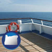 oregon map icon and a cruise ship deck