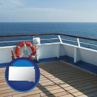 south-dakota map icon and a cruise ship deck