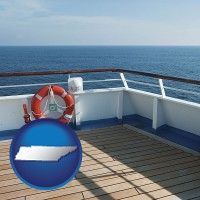 tennessee map icon and a cruise ship deck