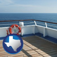 texas map icon and a cruise ship deck