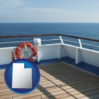 utah map icon and a cruise ship deck
