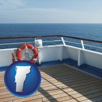 vermont map icon and a cruise ship deck