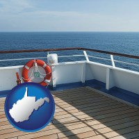west-virginia map icon and a cruise ship deck