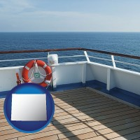 wyoming map icon and a cruise ship deck