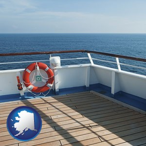 a cruise ship deck - with Alaska icon