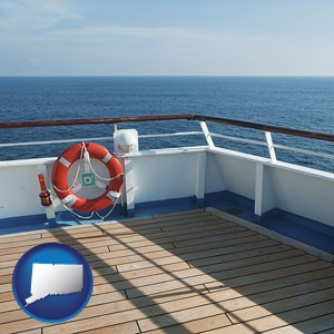a cruise ship deck - with Connecticut icon