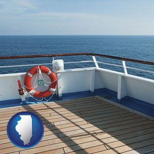 a cruise ship deck - with Illinois icon