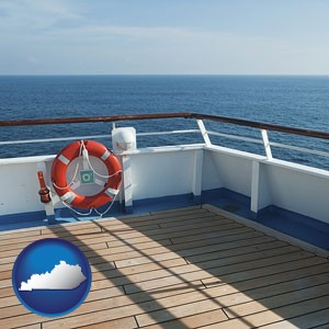 a cruise ship deck - with Kentucky icon
