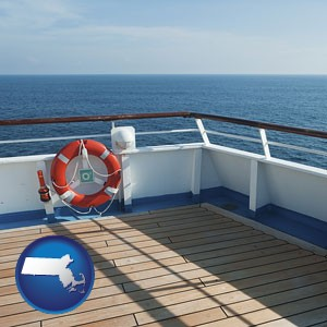 a cruise ship deck - with Massachusetts icon