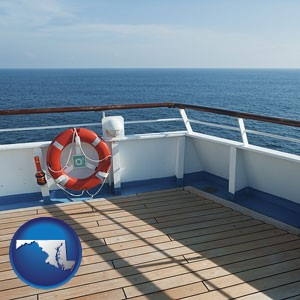 a cruise ship deck - with Maryland icon