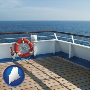 a cruise ship deck - with Maine icon