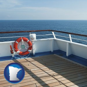 a cruise ship deck - with Minnesota icon