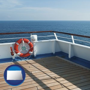 a cruise ship deck - with North Dakota icon