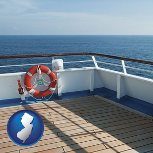 a cruise ship deck - with New Jersey icon
