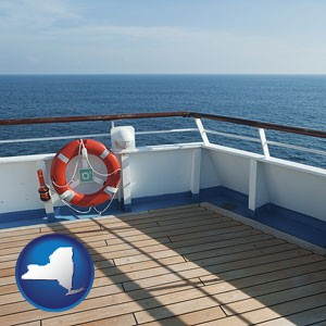 a cruise ship deck - with New York icon