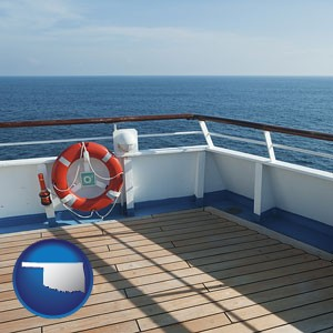 a cruise ship deck - with Oklahoma icon