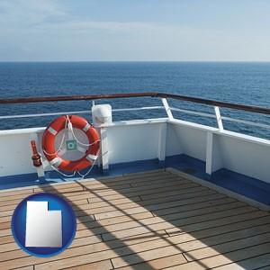 a cruise ship deck - with Utah icon