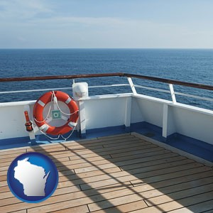 a cruise ship deck - with Wisconsin icon