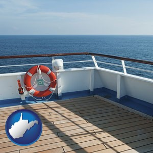 a cruise ship deck - with West Virginia icon