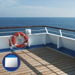 a cruise ship deck - with Wyoming icon